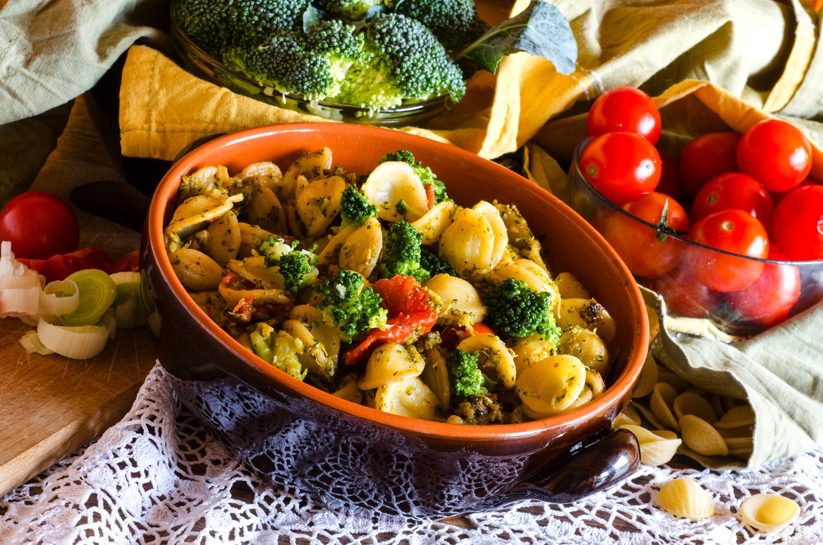 Italian pasta, orecchiette with broccoli, closeup